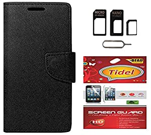 Tidel Premium Table Talk Fancy Diary Wallet Flip Cover Case for XIAOMI MI4I With Screen Guard & Micro/Nano Sim Adapter