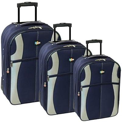 Karabar Set of 26, 22 & 18 Inch Super Lightweight Suitcases (Navy/Silver) from Karabar