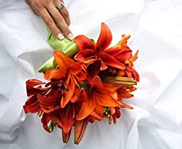 Classic Orange Asiatic Lily Wedding Bouquet