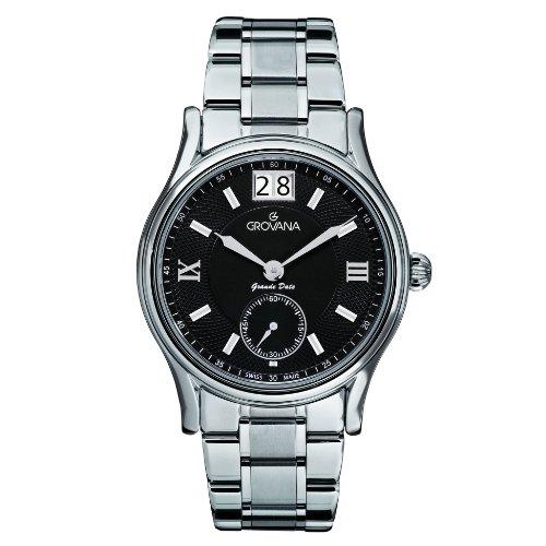 Grovana 1725,1137 - Reloj analógico de cuarzo para hombre, correa de acero inoxidable color plateado