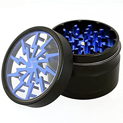 Chromium Crusher 2.5 Inch 4 Piece Lightning Design Tobacco Spice Herb Grinder