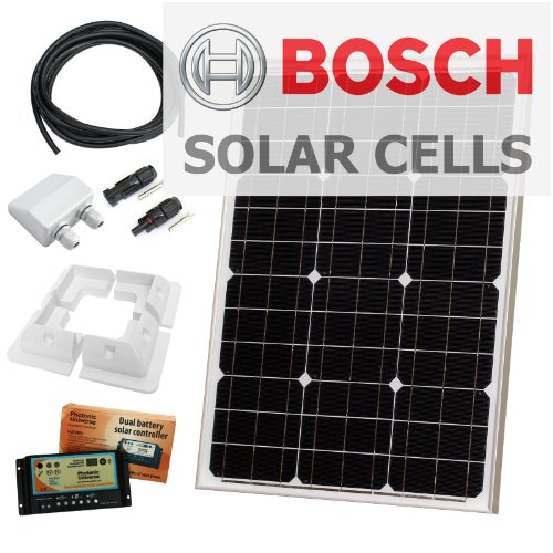 50W 12V Photonic Universe solar panel kit made of BOSCH solar cells, with 10A charge controller, brackets and cables with crocodile clips