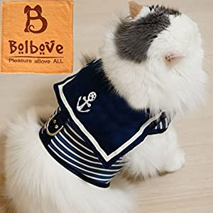 Bro'Bear Adjustable Cool Soft Velcro Cat/Dog Safety Walking Navy Sailor Style Harness Puppy/Kitty Vest Pet Spring Clothes Summer Apparel
