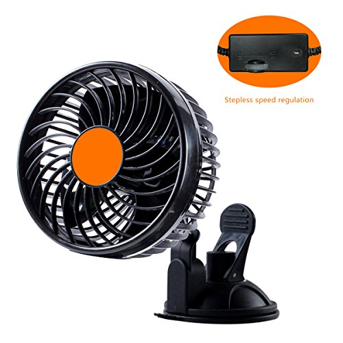 ZFLIN Car Fan Vehicle Fan Adjustment Suction Cup Car Auto Cooling Air Fan Powerful Quiet Stepless Rotatable 24V Summer Cooling Air Circulator(Stepless 6