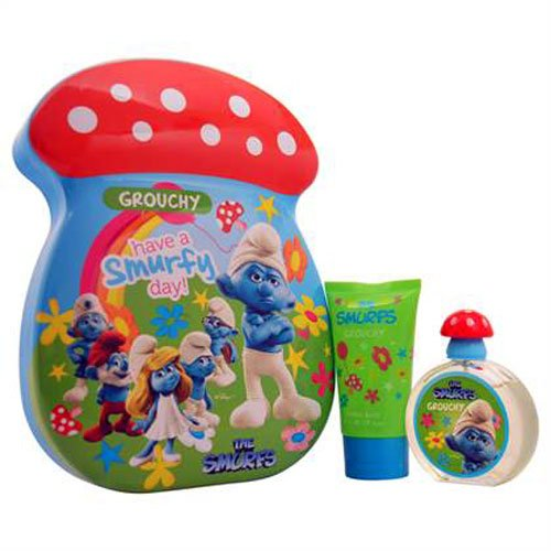 The Smurfs Grouchy EDT Spr 1.7 Floz 50ml +Shower Gel 2.5 Floz 75ml Tin Can Set for Kids New