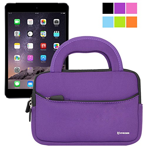 Evecase Ultraportable Handle Carrying Portfolio Neoprene Sleeve Case Bag For Apple Ipad Mini 3 / Ipad Mini 2 With Retina Display / Ipad Mini 1St (Purple)
