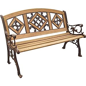 DC America SL5790CO-BR Florence Wood Inlay Park Bench, Cast Iron Frame and Hardwood Slats, Rust Resistant Bronze Finish