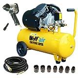 Wolf Cheyenne V-Twin 50 Litre, 3HP, 14CFM, 230v, MWP 150psi, 10BAR Air Compressor + 10 Metre Heavy Duty Rubber Air Hose + Heavy Duty 1/2