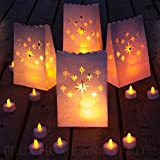 Frux Home and Yard Flameless Tea Lights Yellow Flickering LED Tealight Candles with Bonus Luminary Bags (24 Pack)