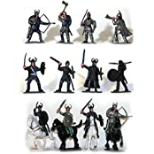 Plastic Toy Soldiers Medieval Vikings Painted Figure Set No.1 1/32 Scale 16 Pieces With Horses And Weapons! Marx...