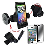 Skque Black Car Holder Mount + Mirror Like Screen Protector for Apple iphone 4G 4S 8GB 16GB 32GB