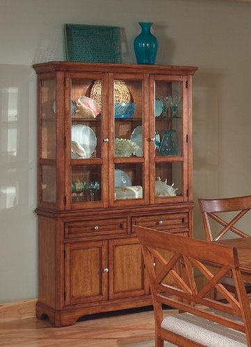 Cheap Contemporary Design Walnut Finish Buffet with Hutch (VF_101284)