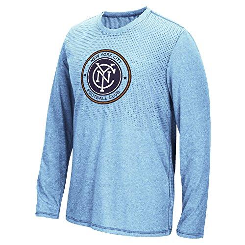 MLS New York City Football Club Men's Climacool Aeroknit Long Sleeve Tee, Heathered Light Blue, Small