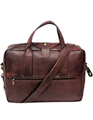 "AYS Stylish 15.9"" Genuine Pure Leather Laptop Sleeve Messenger Office Bag"