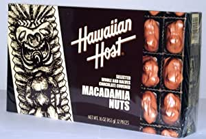Hawaiian Host SELECTED WHOLE AND HALVES CHOCOLATE COVERED MACADAMIA NUTS GIFT BOX NET WT 16 OZ (453 g)