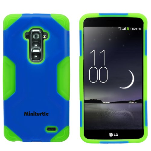 Miniturtle, 2 In 1 Hybrid Curved Shell Casing Hard Phone Case Cover And Clear Lcd Screen Protector Film For Android Smartphone Lg G Flex /T Mobile D959, /At&T D950, /Sprint Ls995 (Light Blue / Green)