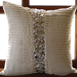 Precious Crystals - Throw Pillow Covers - Silk Pillow Cover with Crystal Embroidery