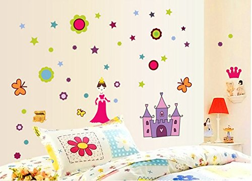 Princess Butterfly Flower Bedroom Wall Stickers front-5567
