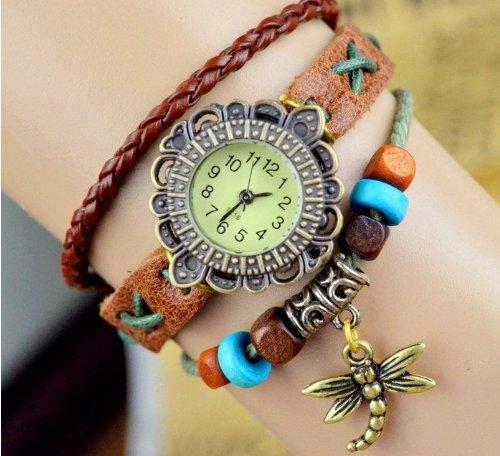 Kano Bak(Tm) Fashion Weave Wrap Around Press Button Leather Retro Bracelet Woman Girl Unisex Dragonfly Wrist Nice Gift Watch Brown