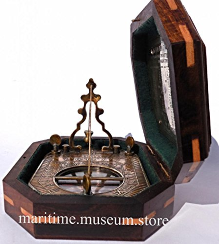 Solid Brass Pendulum Sundial And Compass In Hardwood Box C-3056