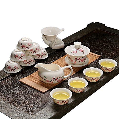 ufengke®Beautiful Ceramic Porcelain kungfu Tea Cup Set with Lid and Saucer-C