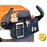 Universal Attachable Stroller Organizer by MOMWIZE-Converts easily to a diaper bag with included adjustable shoulder strap-Insulated cup holders-Great baby shower gift