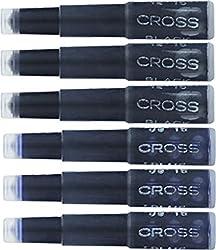 Cross Fountain Pen Cartridge Ink Refills - Pack of 6, Blue/Black
