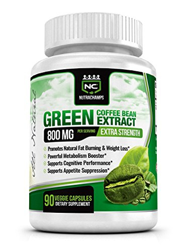 NutraChamps Green Coffee Bean 800mg with GCA – 90 Veggie Capsules – Best 100% Natural Weight Loss Supplement – Highest Quality , Purity & Potency Available on Amazon