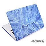 Cosmos Rubberized Plastic Hard Shell Cover Case for MacBook Air 13-Inch (Model: A1369 / A1466), Light Blue Marble Pattern