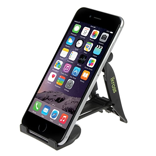 Ikross Universal Portable Folding Mobile Phone Stand Holder - Black For Samsung And Motorola Smart Phones