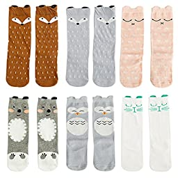 VWU 6 Pairs Baby Girls Boys Cartoon Knee High Stockings Tube Socks 1-5Y (1-3 years, Set 5)