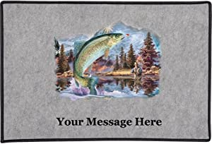 Rainbow Trout Air (Gray, Personalized) - Door and Welcome Mat