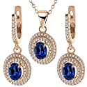 4.63 Ct Blue Created Sapphire 925 Rose Gold Plated Silver Pendant Earrings Set