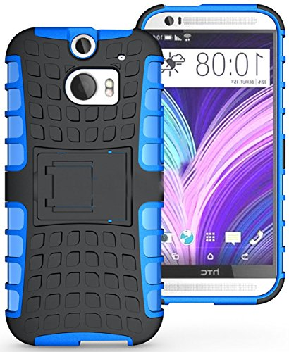 Mylife Inky Black + Neon Blue {Rugged Design} Two Piece Neo Hybrid (Shockproof Kickstand) Case For The All-New Htc One M8 Android Smartphone - Aka, 2Nd Gen Htc One (External Hard Fit Armor With Built In Kick Stand + Internal Soft Silicone Rubberized Flex