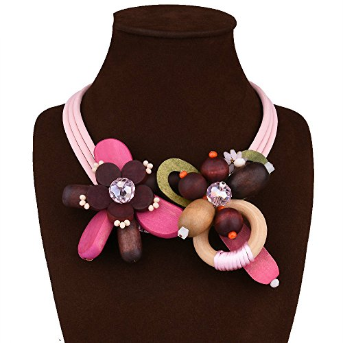 ARICO Vintage Necklace Ethnic Flower Necklace Wood Leather Necklace Choker Crystal Necklace Pink Jewelry NB665 (Pink Toaster Kitchenaid compare prices)