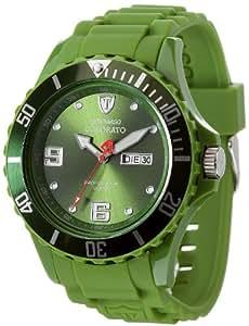 DETOMASO Herrenuhr Quarz Kunststoffgehäuse Silikonarmband Mineralglas COLORATO DAY & DATE Silikon Trend grün/grün DT2029-D