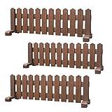 ミニ 木製ピケットフェンス幅150cm-ブラウン-3個セット(受注製作) 小型犬用 サークル 手作り ウッドフェンス 犬 ペット 屋外 仕切り ゲート