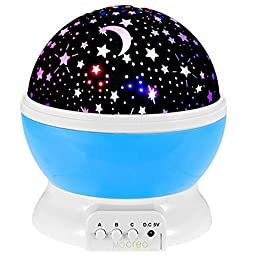 Night Lighting Lamp, MOCREO Christmas gift for kids, Color Changing Night Lighting Lamp Star Projector for Children (Blue)