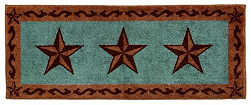 HiEnd Accents Star Print Rug, 24 by 60-Inch, Turquoise