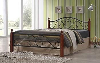 Lit Design en metal noir, pieds de lit en bois malaisiens brun foncé, Dim: 160 x 200 cm -PEGANE-