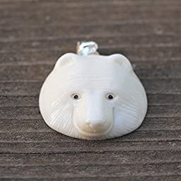 Artist Bear King in Hand Carved Buffalo Bone Pendant With Sterling Silver Bail Great Mothers Day Gift Custom Necklace Jewelry