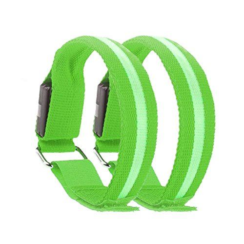 LED Sports Armband Flashing Safety Light for Running, Cycling or Walking At Night Set of 2 (Green, Medium - up to 13 inch circumference) (Running Safety Light Vest compare prices)