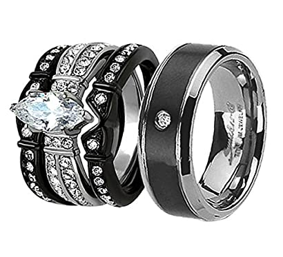 His /& Hers Wedding Rings Sets White Stainless Marquise CZ Tungsten Men Band IP