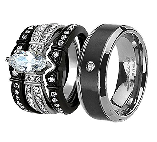 Couples Wedding Bands His Hers 4Pcs Black Titanium CZ Matching