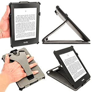 """iGadgitz Black PU 'Heat Molded' Leather Case Cover for Amazon Kindle Paperwhite 2012 & New 2013 versions 3G 6"""" Display Wi-Fi 2GB. With Sleep/Wake Function & Integrated Hand Strap"""
