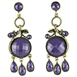 Purple Plum Sailor - Light Weight Faux Brass - Crystal Cut Plastic Gems - Fashion Earrings
