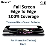 iPhone 6 Screen Protector, Daswise® New Full Screen Design Full Screen Tempered Glass Protector [Full Protection cover 100% Including Curved Edge] Covering Edge to Edge [HD Clear] [Scratch-Resistant] [Bubble Free Easy Installation][Get No Stuck With Case on] Protect Your Screen from Scratches and Drops for 4.7 inches Space Gray iPhone 6 (4.7 Black)