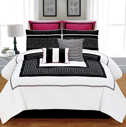 8 Pieces Luxury Black And White With Hot Pink Maze Design Comforter Set / Bed-In-A-Bag King Size Bedding front-674221