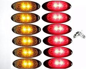 "6 Red + 6 Amber LED Oval Clearance/Side Marker Light with Chrome Bezel Clear Lens for TRUCK TRAILER 2"" 1 Dozen Autosmart KL-15114C"