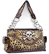 Brown Leopard Print Skull Studded Conceal and Carry Purse